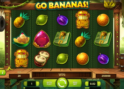 Go Bananas slot game for real money gambling by NetEnt casinos