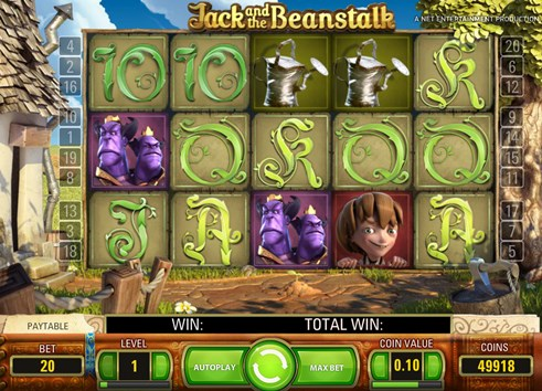 Jackt and the beanstalk slots NetEnt casino gambling game