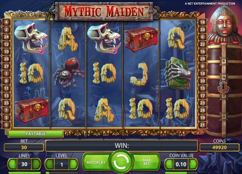 Mythic Maiden online slot by NetEnt casinos gambling game for real money play