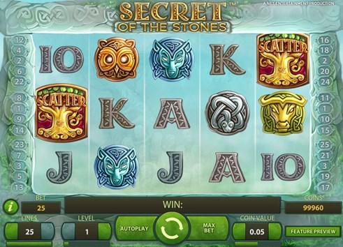 Secret of the stones slot machine gambling game by NetEnt