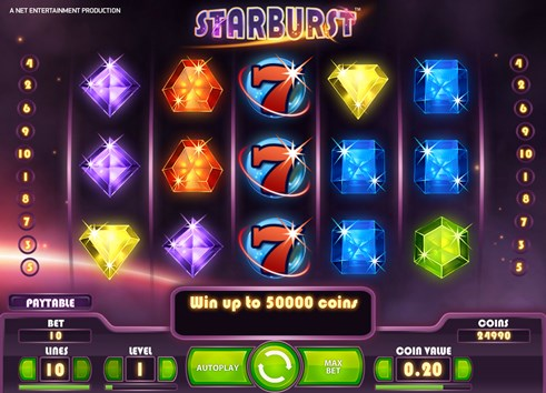 Starburst slot free spins casino gambling game by NetEnt
