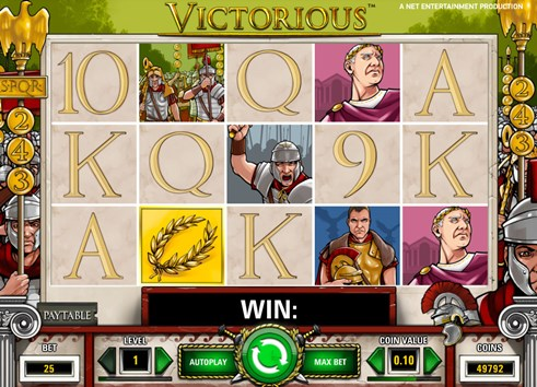 Victorious online slot machine game for real money gambling by NetEnt casinos
