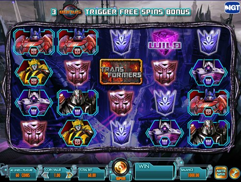 Transformers slots casino game by IGT for real money play online