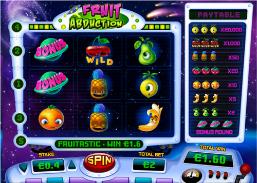 Free fruit abduction slot game by Pariplay
