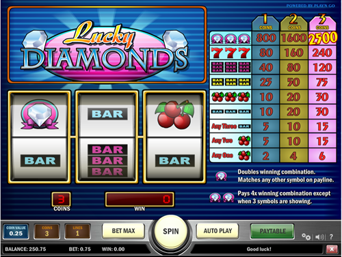 Free lucky diamonds slot game by Play'n Go