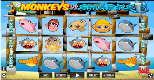 Free monkeys vs sharks slot game by World Match Games